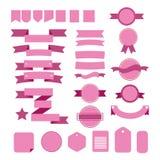 Cintas rosadas del vector fijadas en el fondo blanco Fotos de archivo