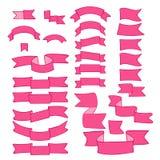 Cintas rosadas, sistema grande del elemento dibujado mano del diseño, bandera, flecha, bandera, etiqueta en blanco Fotografía de archivo libre de regalías