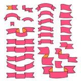 Cintas rosadas, sistema grande del elemento dibujado mano del diseño, bandera, flecha, bandera, etiqueta en blanco Fotos de archivo libres de regalías