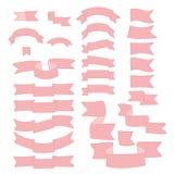 Cintas rosadas, sistema grande del elemento dibujado mano del diseño, bandera, flecha, bandera, etiqueta en blanco Imagen de archivo libre de regalías