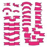 Cintas rosadas, sistema grande del elemento dibujado mano del diseño, bandera, flecha, bandera, etiqueta en blanco stock de ilustración