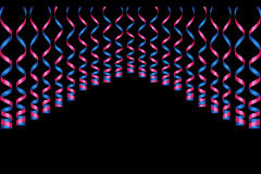 Cintas serpentinas, aisladas en fondo Confeti de las flámulas Ejemplo del vector de la decoración violeta Decoratio ligero descen Imagen de archivo libre de regalías