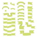 Cintas verdes, sistema grande del elemento dibujado mano del diseño, bandera, flecha, bandera, etiqueta en blanco Foto de archivo libre de regalías