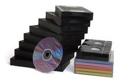 Cintas video y disco del dvd Foto de archivo libre de regalías