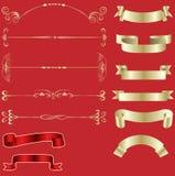 Cintas y elementos de oro del diseño Imagen de archivo libre de regalías