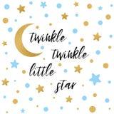 A cintilação da cintilação pouco texto da estrela com a estrela azul do ouro e lua para a festa do bebê do menino carda o molde ilustração do vetor