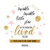A cintilação da cintilação pouco texto da estrela com oranment dourado e estrela cor-de-rosa para a festa do bebê da menina carda Fotos de Stock Royalty Free