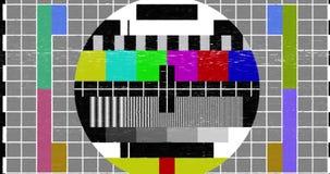 Cintilação realística abstrata do pulso aleatório da tela, sinal análogo multicolorido da tevê do vintage com interferência má e  video estoque