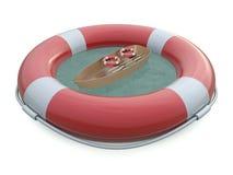 Cintos de salvação e barco do SOS ilustração stock