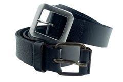 Cinturão negro no fundo branco fotografia de stock