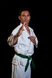 Cinturón verde en el entrenamiento Foto de archivo