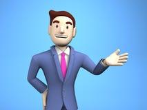 Cintura acima do homem de negócios novo On Blue Background Foto de Stock Royalty Free