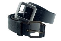 Cintura nera su fondo bianco fotografia stock