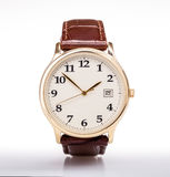 Cinturino di cuoio di orologio dell'oro Immagini Stock Libere da Diritti