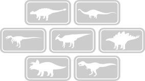 Cinza ajustado do emblema retangular do dinossauro Imagem de Stock Royalty Free