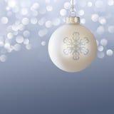 Cinza azul elegante do ornamento da esfera do Natal branco Fotos de Stock Royalty Free