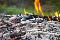 Cinza de carvão e de madeira imagem de stock