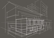 Cinza de construção do sumário arquitetónico linear do conceito do esboço Foto de Stock Royalty Free