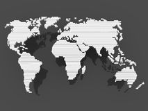 Cinza do preto do mapa de mundo Imagem de Stock