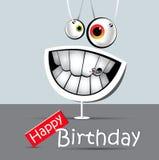 Cinza e branco engraçados do sorriso do cartão do feliz aniversario Foto de Stock Royalty Free