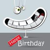 Cinza engraçado do sorriso do cartão do feliz aniversario Fotografia de Stock