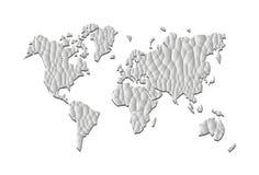 Cinza poli poligonal da precisão do mapa do mundo baixo Imagens de Stock Royalty Free
