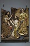 Cinzeladura de Limewood de Jesus Baptism dentro do museu de arte metropolitano NYC foto de stock royalty free