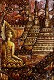 Cinzeladura de madeira da Buda Fotos de Stock Royalty Free