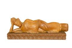 Cinzeladura de madeira da Buda Cinzeladura de madeira do estilo tailandês no fundo branco Foto de Stock Royalty Free