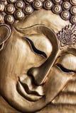 Cinzeladura de madeira da cara de Lord Buddha. Foto de Stock Royalty Free