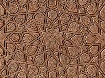 Cinzeladura de madeira decorativa com projeto persa islâmico Imagens de Stock
