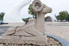 Cinzeladura de pedra da carneiro-pedra Foto de Stock