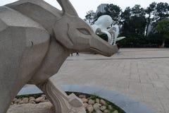 Cinzeladura de pedra da Eagle-pedra Fotografia de Stock