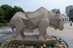 Cinzeladura de pedra da Hipopótamo-pedra Fotos de Stock Royalty Free