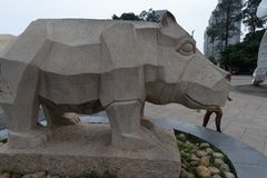 Cinzeladura de pedra da Rinoceronte-pedra Imagens de Stock
