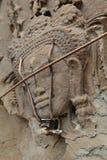 Cinzeladura de pedra dos dançarinos de Apsara, em Camboja fotos de stock