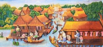 Cinzeladura e pintura de pedra da cultura tailandesa tradicional imagem de stock
