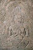 Cinzeladura em uma das construções antigas em Ta Phrom Muitas ruínas h fotografia de stock