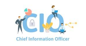 CIO, chief information officer Concetto con le parole chiavi, le lettere e le icone Illustrazione piana di vettore Isolato su bia royalty illustrazione gratis