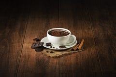 Cioccolata calda con cioccolato fondente Fotografie Stock Libere da Diritti