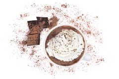 Cioccolata calda con crema e cacao fotografie stock libere da diritti