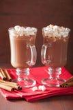 Cioccolata calda con la mini bevanda di inverno della cannella delle caramelle gommosa e molle Fotografie Stock