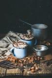 Cioccolata calda con panna montata, i dadi differenti e le spezie Fotografie Stock