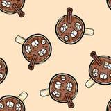 Cioccolata calda del cacao con il modello senza cuciture del fumetto sveglio della caramella gommosa e molle royalty illustrazione gratis