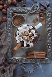 Cioccolata calda deliziosa di Natale con le caramelle gommosa e molle, i dadi e la cannella sul vassoio d'argento, vista superior Fotografia Stock Libera da Diritti