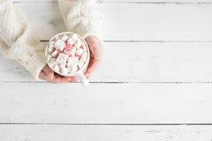 Cioccolata calda della menta piperita in mani immagine stock