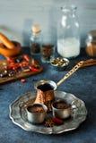 Cioccolata calda ed ingredienti messicani piccanti Fotografia Stock