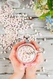 Cioccolata calda rosa con la caramella gommosa e molle fotografie stock libere da diritti