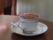 Cioccolata calda in tazza della porcellana con la guarnizione del cioccolato Immagine Stock