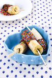 Cioccolato al latte della banana su un bastone immagini stock libere da diritti